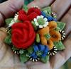 Wooly flower brooch (woolly  fabulous) Tags: flowers roses wool daisies pin recycled brooch felt zipper posy woollyfabulous