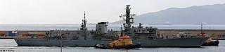 Royal Navy Type 23 Frigate HMS Westminster (F237) departs HM Naval Base, Gibraltar