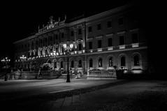 Piazza d'Italia 2 (ambrogio_mura) Tags: sardegna shadow bw white black clock night nikon long exposure italia shadows centro bn ombre e piazza orologio sassari bianco nero notturna notte notturne prospettiva storico ditalia d90 notturni palazz sciuti