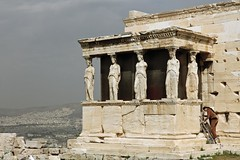 """""""Her Shift Holding Up the Roof is Over"""" - Acropolis, Athens, Greece (TravelsWithDan) Tags: woman monument temple ancient funny candid statues athens greece acropolis sculptures greektemple worldtrekker overlookingathens acropolisworker"""