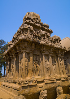 The Rock-cut Monolithic Arjuna Ratha Temple, Mahabalipuram, India