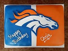 Denver Broncos football cake by Christine, Linn County, IA, www.birthdaycakes4free.com