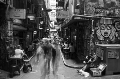Don't Pass Me By 1 (Les Unsworth) Tags: street city blackandwhite bw musician music dog motion monochrome river flow cafe movement alley stream performance melbourne lane slowshutter entertainer cbd laneway busker accordian busking oblivious entertain centreplace ignored passby