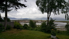 View from our back deck - see the Homer Spit jutting out into Kachemak Bay