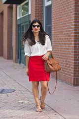 white popover, red pencil skirt, brown bag and sandals.jpg (LyddieGal) Tags: red summer brown white fashion outfit style anchor express wardrobe tjmaxx jcrew rayban thrifted pencilskirt officestyle