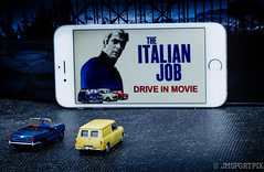 Drive In - Day 48 of 365 Project Silver Explored #393 (twinnieE) Tags: driveinmovie preiserphotography drivein silver truecolours2017 cars miniatures preiser preiserfigures mini tiny iphone convertible movie