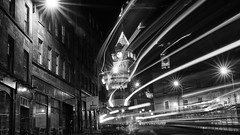 Edinburgh traffic ghosts (lunaryuna) Tags: scotland capital edinburgh urban city architecture night nightphotography nocturnalphotography nightlights citylights le longexposure coloursofthenight nightbus whooosh passingby lighttrails traffic walkinthecity urbanconstructs downtown citycentre lunaryuna blackwhite bw monochrome