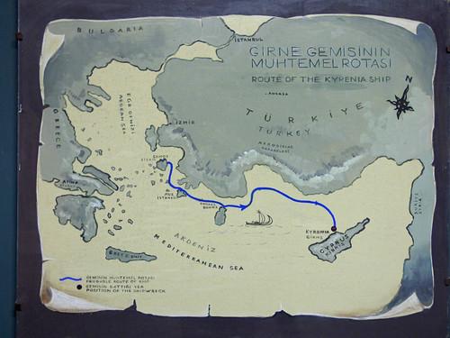 Girne - castle Roman shipwreck sailing route