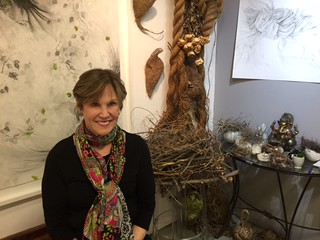 Artist Tina Salvesen in her Bakehouse studio during the 30th anniversary party