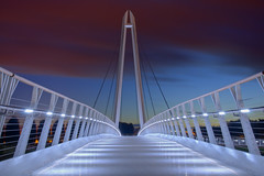 HDR image of Diglis footbridge in Worcester (AJK Photography) Tags: lighting bridge footbridge illuminated hdr worcester