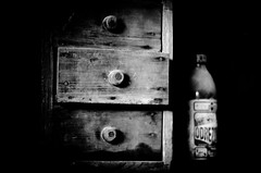 Old drawer (David Doua) Tags: wood old bw white black dark mono three wooden bottle garbage junk closed garage drawer dust drawers opened antirust uplk odrezova uplky