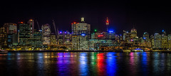 Sydney Skyline (Mike Hankey.) Tags: city skyline lights flickr sydney vivid darlingharbour