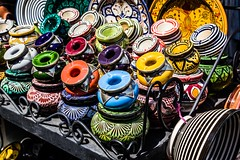 """Morrocan pottery (Tracy Ward Photography) Tags: life africa street city light portrait mountains landscape photography interesting cityscape market muslim spice working culture mosque morroco busy morocco maroc atlas marrakech souk medina marrakesh souks smelly marroc riad """"low cinamon peaple light"""" """"north africa"""""""