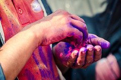 Holi festival, Kathmandu, Nepal (Andrew Taylor Photography) Tags: nepal colour festival hands celebration kathmandu subject colourful festivity holi durbarsquare happyholi basantapurdurbarsquare colouredpowder playholi