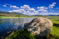 Lake Chaparral (tookephoto) Tags: ranch blue sky horse lake water rock pond nikon colorado shadows shade vista nikkor aspen range equestrian coulds mountians snowmass horsebackriding dx chaparral woodycreek bolder d7000 100240mmf3545