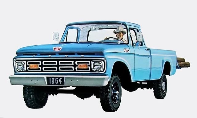ford wheel truck four drive 60s 4x4 ad 4wd pickup brochure 1964 f250