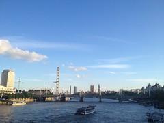 London Thames From Waterloo Bridge (Pdudleyvfx) Tags: greatbritain bridge london water westminster thames clouds river footbridge unitedkingdom sunny londoneye bigben bluesky southbank waterloo gb embankment hungerfordbridge jubileegardens riverboatcruise