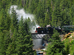 Letting Off Steam - Georgetown Loop Railroad (Sandra Leidholdt) Tags: railroad bridge trees usa mountains america forest train us colorado crossing unitedstates trains georgetown historic steam nostalgia american transportation nostalgic locomotive rockymountains steamy americanwest attraction narrowgauge steamtrains steamlocomotive clearcreek silverplume clearcreekcounty railfans georgetownlooprailroad sandraleidholdt mountaintrains leidholdt sandyleidholdt