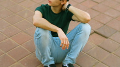 thoughts (Alice Luk.) Tags: street boy urban man guy face canon 50mm no wide handsome screen vans lonely f18 18 169 600d canon600d