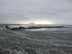 Nature's wrath 2 (spikeybwoy - Chris Kemp) Tags: morning sea storm waves force wind harbour windy seawall splash swell seahouses roughsea