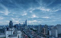Sunrise of Shanghai (Lord Shen) Tags: china city urban horizontal sunrise canon landscape photography asia shanghai outdoor aerialview landmark huangpu