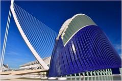 Le bâtiment bleu est l'Agora, l'icône de la Cité des Arts et des Sciences. l'Ágora semble représenter deux mains entrelacées. Il représente une surface de 5000m² et atteint une hauteur de 80m. (Barbara DALMAZZO-TEMPEL) Tags: blue valencia spain bleu pont espagne agora valence fleuve mosaïque turia trencadis santiagocalatravavalls cityofartsandsciences riverturia mosaïcs citédesartsetdessciences pontdelaserradora serradorabridge lepontdelassutdelor valencianarchitect architectevalencien espacemultifonctionnel