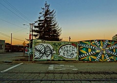 Ditch Your Ego (rickele) Tags: railroad sunset bird graffiti oakland dusk tracks westoakland crumblinginfrastructure egovsid