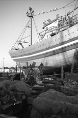 Scan-131230-0034-3.jpg (mathendrix) Tags: africa analog harbor blackwhite fishing ship marrakech nikonf3 essaouira marroco roll4 homedeveloping 2013 nikoncoolscan5000ed agfaortho25