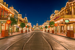 Main Street USA the Other Way (TheTimeTheSpace) Tags: fall night stars nikon mainstreet disney disneyworld waltdisneyworld hdr magickingdom d800 mainstreetusa