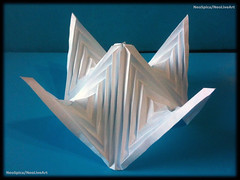Folding Example Hyperbolic Paraboloid Shelter (NeoSpica / NeoLiveArt) Tags: hat paper square origami example fold shelter curved folding tessellated hyperbolic paraboloid pleat curvedfold
