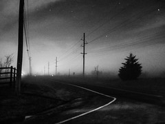 . (hornbeck) Tags: blackandwhite bw oklahoma fog night driving bnw