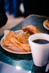 Pastes + Caf (btobetun) Tags: food black cup coffee yellow breakfast crust mexico custard comfort simple comfortfood empanada pastes