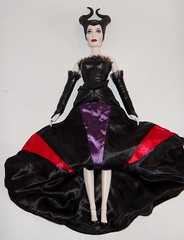 Redressing Disney Film Collection Maleficent 12'' Doll in Designer Maleficent's Outfit - Disney Store - Lying Down - In Designer Dress, Gloves and Shoes - Skirt Raised -Full Front View (drj1828) Tags: us outfit dressing staff disneystore 12inch maleficent 1112inch disneyvillainsdesignercollection disneyfilmcollection disneymaleficent swappingoutfits
