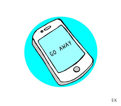 GO AWAY (Krillinator) Tags: blue white art illustration composition digital writing photoshop circle grey design sketch words colours different phone drawing turquoise vibrant background text round strong illustrator outline conceptual shape simple information vector bold texting iphone backgroud