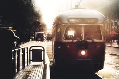 timeless tram (JimfromCanada) Tags: tram haze sanfrancisco sunny vintage old oldfashion streetcar bus transportation commute city street logistics heritage nostalgic