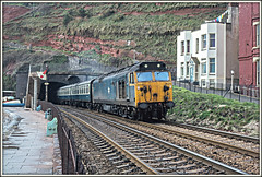 April's Fool (david.hayes77) Tags: dawlish devon seawall marineparade 1978 class50 50015 englishelectric aprilfool semaphore coast cliff
