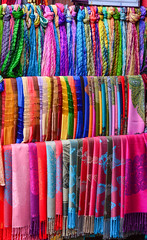 Colorful textile for sale at Asian street market (phuong.sg@gmail.com) Tags: asia asian assortment bazaar bright business cashmere cloth clothing colorful colors concept consumerism couture design different drapery fabric fashion goods hanging hanoi hoian industry manufacture market multicolored palette range raw retail row saigon sale samples scarves sell shawl shop store street style textile thailand trade vibrant