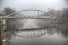 The Arched Bridge in Tartu in the fog (neilalderney123) Tags: ©2017neilhoward tartu estonia fog foggy bridge water landscape olympus reflection