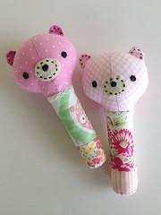 Baby Girl Rattles (Marci Girl Designs) Tags: sweetlystitchedhandmades amysinibaldi scraps fabric rattle babytoy baby handstitching nanacompany