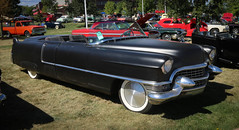 1955 Cadillac (coconv) Tags: car cars vintage auto automobile vehicles vehicle autos photo photos photograph photographs automobiles antique picture pictures image images collectible old collectors classic blart 1955 cadillac 4 door hardtop roof removed flat black roadster convertible 2 rat rod moon hubcaps 55