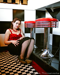 Nostalgic girl () Tags: justin red usa girl smile female america cat vintage lights photo washington cafe cool model state image united picture kitty style diner scene retro photograph rockabilly tacoma states lipstick dame pinup checker greaser alfredscafe voronaphotography sammiemarie