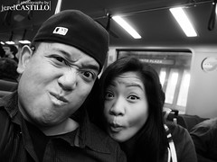 SELFIES! (CaselxASD) Tags: sf sanfrancisco people bw me couple bart panasonic monica transportation bayarea exploratorium selfie bayarearapidtransit gx1