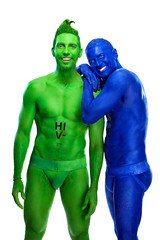 Body painters Sydney Australia (humanstatuebodyart) Tags: blue green body sydney australia nsw painters oppositesattract