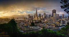 Golden Hour (mikeSF_) Tags: california park bridge color tower mike skyline america landscape photography bay us san francisco cityscape pentax map district hill bank pro medium format nik 28 transamerica ina russian financial telegraph tone hdr coit oria coolbrith efex 645d da55
