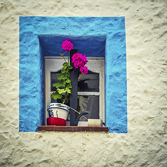 A Window on White (s a s h i) Tags: blue white window spain geraniums sitges sashi alexarnaoudov