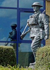 Reflections of a Soldier (john atte kiln) Tags: uk windows england reflection statue bronze soldier uniform gun unitedkingdom britain rifle helmet somerset battle mendip frome