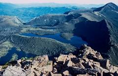 Lake Piccone & Judd's Charm, 1983 (NettyA) Tags: lake mountains film 35mm australia slide bushwalking tasmania tassie circuit worldheritage scannedslide southwestnationalpark mtanne swtasmania