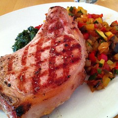Grilled pork chop and ratatouille