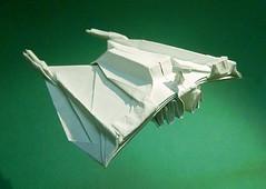 Snow Speeder origami new photo : rear view (Matayado-titi) Tags: airplane starwars origami fighter vehicle speeder starship starfighter snowspeeder sugamata matayado