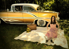 "Nikki Bee and our 1956 Watson styled Oldsmobile. • <a style=""font-size:0.8em;"" href=""http://www.flickr.com/photos/85572005@N00/10031133626/"" target=""_blank"">View on Flickr</a>"